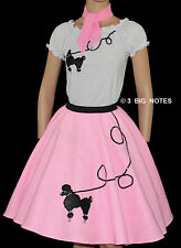 """3PC PINK 50's Poodle Skirt Girl Age 4/5/6 Sz Small L18"""""""