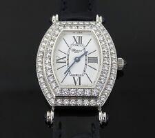 1990's Chopard 551 1 Diamond & 18K White Gold Tournou Shape Lady's Watch