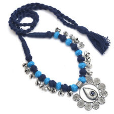 Indian Ethnic Blue Color Thread Necklace With Ghungroo Silver Antique Jewelry