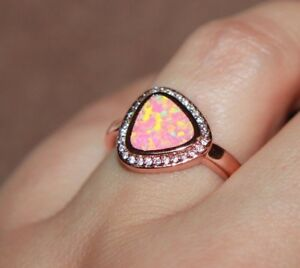 fire opal Cz ring gemstone jewelry 5.5 6.5 7.75 8.75 rose gold filled cocktail H