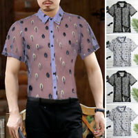 Mens Mesh Tops Floral Sheer Muscle See Through T Shirt Top Tee Clubwear Summer