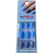 NEW Kiss Nails Impress Press On Manicure Short Gel Periwinkle Glitter Sparkle