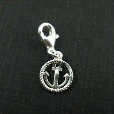 Sterling Silver Bracelet Charms-Round Silver Anchor Charm - Add on Charm (1 pc)