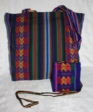 Peruvian Handmade TOTE BAG BLUE WOODEN RING ZIPPER SET AND POUCH NEW