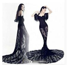 Sexy Gothic Lace Womens Fishtail Chinese Dress Slim Evening Party Dress Black US