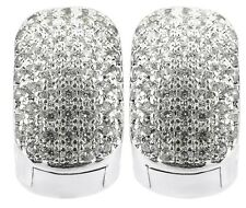 Silver Huggie Earrings Iced Out Bling Cz Diamante Hoop Earrings Men Womens 14mm