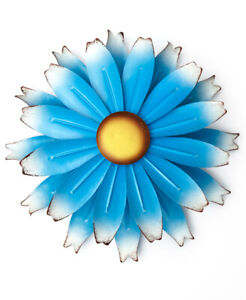 Large 1 Foot Diameter Blue Metal Wall Flower Yard Wind Spinner Garden Sculpture