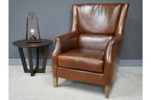 Genuine Leather Armchair Retro Leather Wingback Armchair