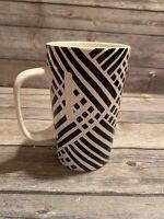 Starbucks Mug 16 Oz Tall Black White Striped 2014 Dot Collection
