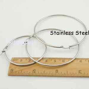 Stainless Steel Hypoallergenic Loop Hoop Sleepers Silver Earrings Small Large