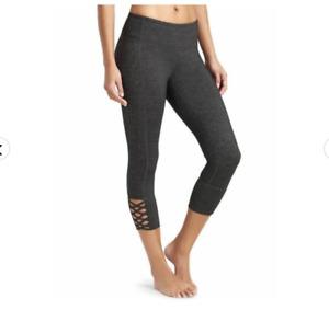 Athleta Mind Over Matter Capri Cropped Leggings Gray XS Stretch Criss Cross