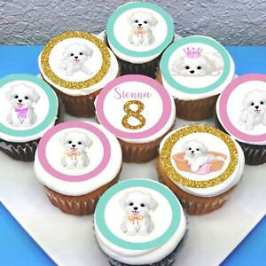 """Puppy Dog Edible Icing Cupcake Toppers - 2"""" - PRE-CUT - Sheet of 15"""