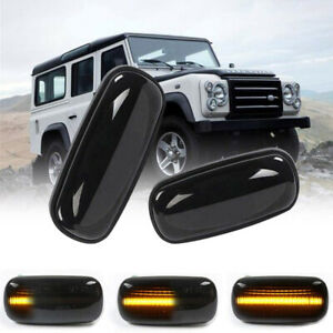 Smoked Sequential LED Side Marker Lights For Land Rover Defender Freelander LR2