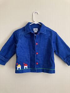 Florence Eiseman Girls Jacket Sz 6 Blue Corduroy Appliques