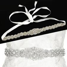 Rhinestone Crystal Wedding Bridal Dress Bride Gown Sash Belt Satin Ribbon White