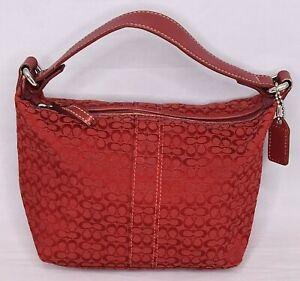 COACH Mini Signature Red Canvas Bag Purse RARE HTF
