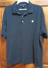Apple Employee Genius Polo Shirt Black Cotton Embroidered Men L Rare Vintage