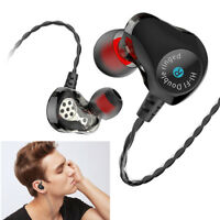 Dual Driver Headphone Double Ringed Earphone Bass Headset Sport Stereo Earbuds