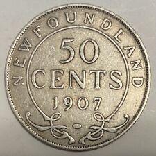1907 Newfoundland 50 Cents Silver Coin - Edward VII