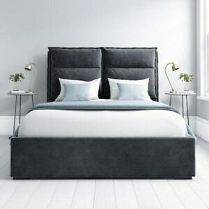 Maddox Double Ottoman Bed with Cushioned Headboard in Anthracite Grey Velvet