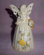 Angel Bell with Butterfly Wings & Full Skirt Ceramic Bell Flowers and Basket