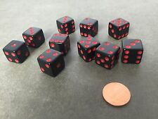 Set of 10 Six Sided D6 16mm Standard Dice Die - Black with Red Pips