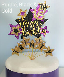 Starburst Birthday Cake Topper Any Age & a Name 1st 18th 21st 30 40 50 60 70 +