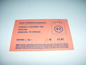 Level 42 Ticket IJsselhallen Zwolle 9 Oktober 1988