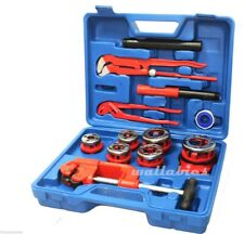 10Pc Manual Ratchet Pipe Threader w/6 Threading Dies Pipe Cutter & Wrenches Kit