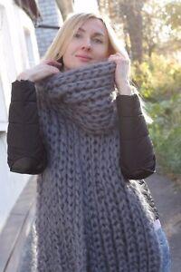 5 strands Premium Mohair SCARF hand knit Gray  Men Women Jane Rodas
