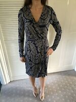 Boden Navy Patterned Wiggle Faux Wrap Dress Size 8R