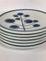 6 Mikasa Blue TREE CANDY Cordon Bleu Bread Salad Appetizer Plates MID CENTURY