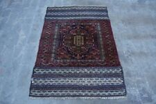 F1854 Vintage Handmade Afghan Tribal Baluchi Stunning Decor Wool Rug 3'7 x 4'9Ft