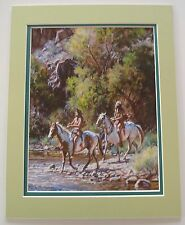 White Water Crossing by Martin Grelle Horses Native American Double Matted 9x12