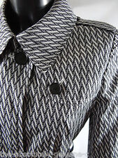 AQUASCUTUM Lightweight FRANCA Summer Rain Trench Coat Iconic Black/White sz 8