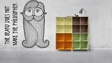 Wall Vinyl Sticker Mural Decal Curls Ringlets Folk Wisdom Beard Logo Head F1271