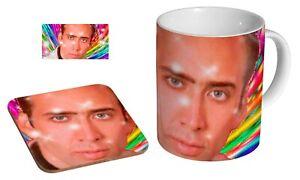 Nicolas Cage Rainbow Funny Trippy - Coffee / Tea Mug And Coaster Gift Set