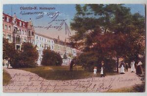 Cüstrin Neustadt   Moltkeplatz  1917 coloriert  Küstrin Neumark  Lebus