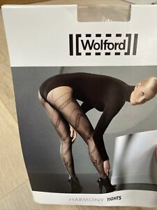 Wolford Harmony Fashion Tights. Black. Lace & Bow Detail Tights. Size M