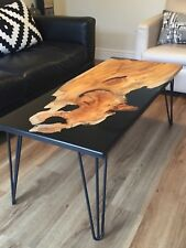 Coffee table - river table with epoxy resin and elm
