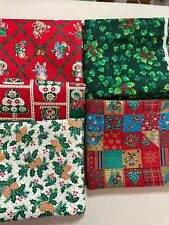 Lot 5 fat quarters Vintage Red cotton Christmas fabric FQ for masks or quilting