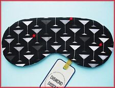 Eye Sleep Mask Martini Cocktail Cotton, Travel Party Gift Blackout Relax UK Made
