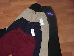 """PLUS FIT BOYS CHINO TROUSERS - FROM AGE 9 UPTO 42"""" WAIST - BLACK/NAVY/SAND/WINE"""