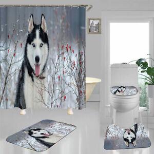 Snow Husky Dog Shower Curtain Bath Mat Toilet Cover Rug Bathroom Decor