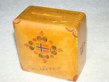 VINTAGE NORWEGIAN HANDMADE WOODEN BOX COIN BANK NORGE FLAG FOLK ART PRIMITIVE