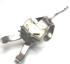 "Vintage Beau 2"" Sterling Silver Kitty Cat w Turning Head Brooch Pin"
