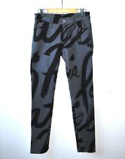 Patricia Field CALLIGRAPHY Print Gray JEANS by Members16 SIZE S Salutes Sprouse