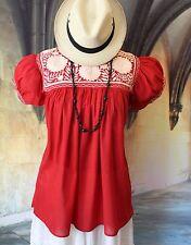 Red & Cream Hand Embroidery Blouse Mayan Chiapas Mexico Hippie Boho Southwestern