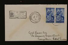 ANTIGUA 1949 registered FDC Royal silver wedding pair on cover to British Guiana