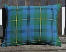 "NEW 14"" x18"" zipped cushion pure wool tartan green blue yellow/black velvet"